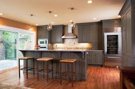 Wooden Floor In Kitchen Modern Dark Oak Wood Floor In Kitchen Granite Countertop Wooden