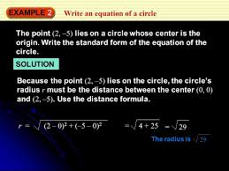 example 2 write an equation of a circle the point 2 5