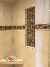 tile shower images. Plain Tile Tile Shower With Mixed Insert And Glass Shelves To Images W