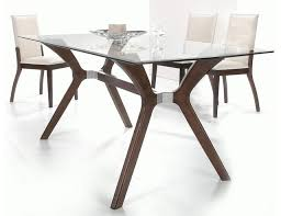 stylish wooden and clear glass top leather dining set glass top dining table set 4 chairs