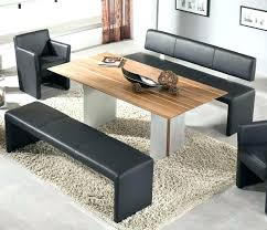 modern black bench leatherette with chrome base dining set seating for d
