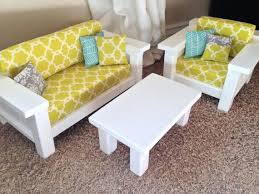american girl doll furniture 3 pc living room set couch chair coffee vintage modern dollhouse furniture 1200 etsy