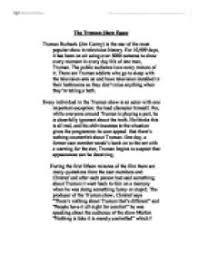 the truman show essay university media studies marked by  page 1 zoom in
