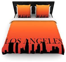 kess original los angeles orange black cotton duvet cover queen 88