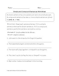 Simple and Compound Sentences Worksheet | ingles 2018 yia ...