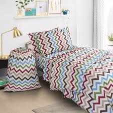 college dorm twin xl bed in a bag 6 piece bedding set includes laundry bag