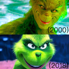 look how far makeup and hairstyling has e from when jim carrey pla the grinch in 2000 pared to benedict berbatch playing him in 2018