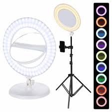 Ring Light Mirror Dual Sides Makeup Mirror Dimmable Led Multicolor Ring