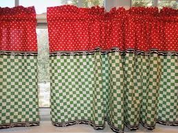 Red Swag Kitchen Curtains Retro Kitchen Curtains 1950s Diner Style Four Panels Red Green