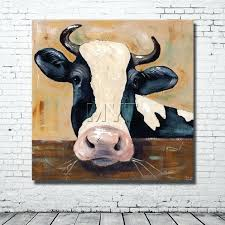 cow head wall decor big cow head painting bedroom decor modern canvas ready to hang cow cow head wall decor