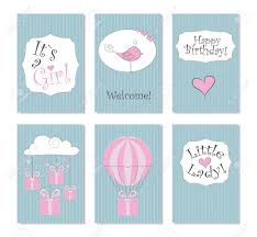 Birthday Printable Cards Vector Illustration Set Of 6 Printable Cards Perfect To Newborn
