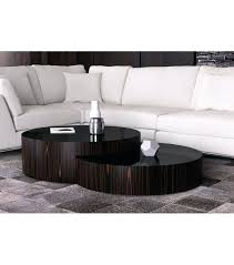round nesting coffee table copper oxidized set of 3 contemporary ebony wood glass