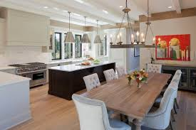wooden dining table marble top kitchen island slide in gas range silver pendant lighting chandeliers wall mount kitchen island