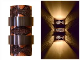 down lighting wall sconce. burned copper with bronze trim stacked ziggurat wall sconce. great in media rooms, down lighting sconce t