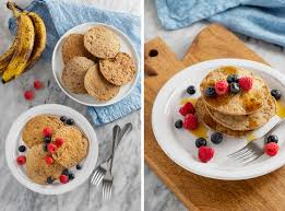 plated buckwheat banana pancakes with maple syrup