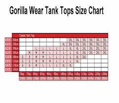 Gorilla Wear Tank Tops Size Chart