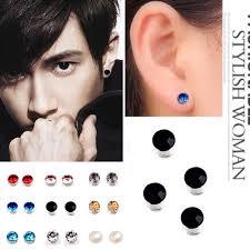 1 Pair Magnetic Non Piercing Clip On Magnet Ear Stud Men Women Fake