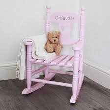 white wooden rocking chair. Pink Personalised Child\u0027s Rocking Chair White Wooden