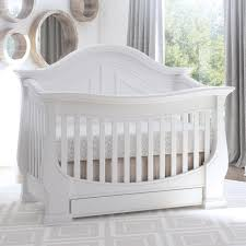 Eco Chic Baby Dorchester Curved 4-in-1 Convertible Crib with Storage Drawer  - Pure White - Babies