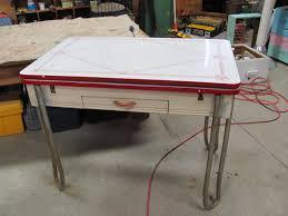 Retro Metal Kitchen Table 1950 Antique Dining Table With Chrome Legs Antique Retro Enamel