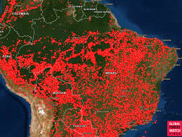 Jungle Heat Map Design Map Shows Much Of South America On Fire Including Amazon