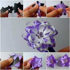 How To Make A Paper Ribbon Flower How To Diy Easy Ribbon Flower Bow