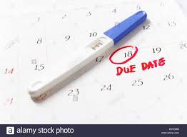 Pregnancy Test With Positive Result Lying On Calendar Due