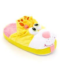 Stompeez Yellow Peek A Boo Kitty Fleece Slipper