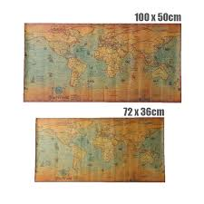Us 1 72 28 Off Vintage Kraft Paper World Map Poster Retro Old Paper Nautical Chart Ocean Sea Maps Wall Sticker Antique Home Decor Map World In Wall