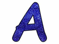 Blue Letters Printable Display Bulletin Letters Numbers And More Blue Glitter