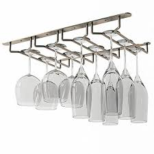 Metal wine glass rack Chrome Wallniture Stemware Wine Glass Rack Holder Under Cabinet Storage Oil Rubbed Finish 10 Inch Deep Shopforchangeinfo Buy Stemware Racks Dinnerware Stemware Storage Online Home
