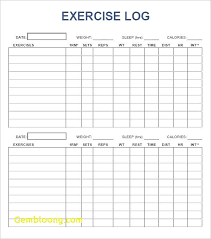 Workout Char Template Efestudios Co