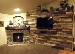 rustic fireplace surround pallet wood wall and stone fireplace surround with a