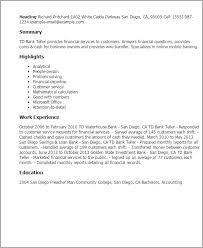 Resume For A Teller Bank Teller Job Description Resume For Teller