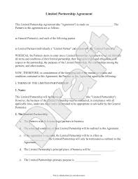 Downloadable limited partnership agreement template. Free Limited Partnership Agreement Free To Print Save Download
