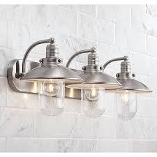 Allen + Roth Hainsbrook 3-Light 7.48-In Antique Pewter Cone Vanity Light  B10072 | Antique pewter, Bathroom fixtures and Bathroom vanities