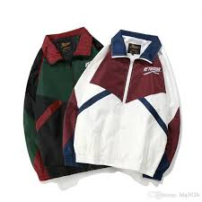 vintage color block patchwork embroidery full zip up windbreaker jackets 2018 spring autumn hip hop casual track coats coat jacket men mens jackets styles