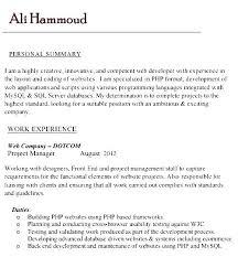 Php Programmer Resume Sample Programmer Resume Sample Sample