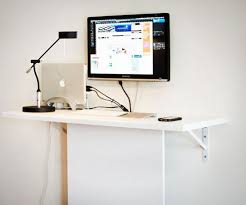 diy wall mounted standing desk. Brilliant Desk Space Saver 22 WallMounted Desks To Buy Or DIY Via Brit  Co 20  Standing Desk This Standing Desk Uses A Basic White Painted Board Camouflage  Inside Diy Wall Mounted Desk Pinterest