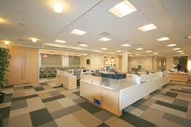 lighting in an office. led ceiling troffers provide the primary lighting in open office area and an