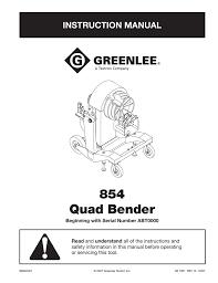 Emt Offset Bending Chart 854 Quad Bender Instructional Manual Manualzz Com
