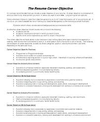 Professional Resume Objective Good General Objective For Resume Emelcotest Com