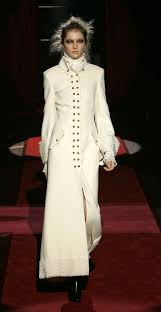 ferre white double ted maxi coat with karakul cuffs