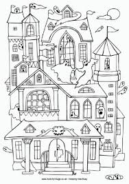 Small Picture Halloween Haunted House Coloring Pages Getcoloringpages Com