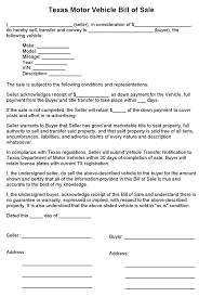 Free Texas Motor Vehicle Bill Of Sale Form Pdf 1 Pages Business ...