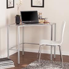 chace metal glass corner desk silver