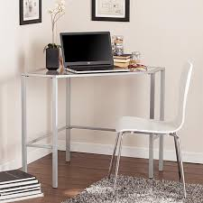 chace metal glass corner desk silver