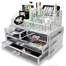 LaRoc Clear Acrylic Cosmetic Organiser with Drawers Makeup Jewelry Display  Box Case