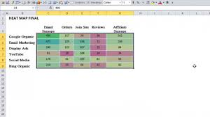 heatmap in excel how to create a cool heat map in excel youtube