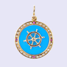 gourgeous turquoise and 14k gold pendant with spinning ships wheel and diamond